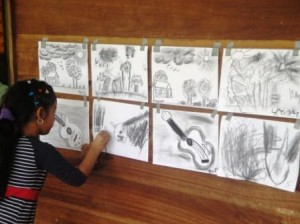 Children class Charcoal drawing
